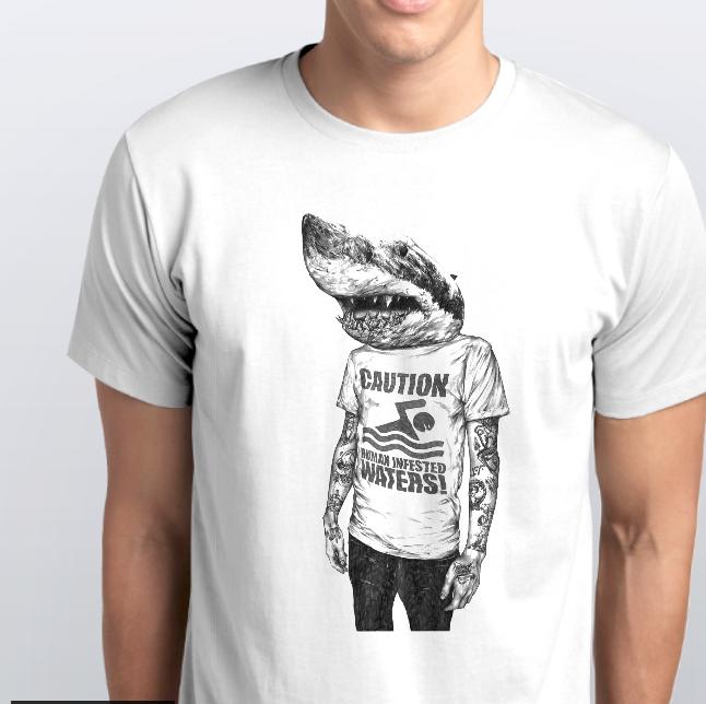 Футболка мужская акула человек