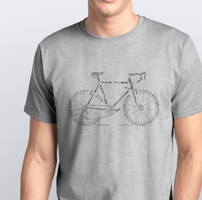 """Футболка чоловіча сіра з принтом """"Велосипед з літер"""""""