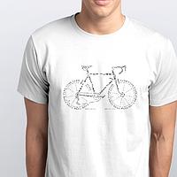 Футболки мужские, велосипед из букв