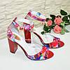 Женские лаковые босоножки на устойчивом высоком каблуке, фото 2