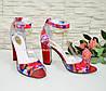 Женские лаковые босоножки на устойчивом высоком каблуке, фото 3