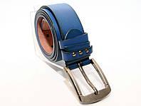 Синий кожаный ремень с классической пряжкой