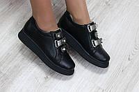 Туфли женские черные на липучках 39