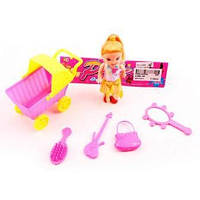 Кукла 10см, коляска 10см, в кульке