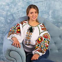 Льняная женская вышитая блуза Колорит Олива, фото 2