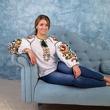 Льняная женская вышитая блуза Колорит Олива, фото 3