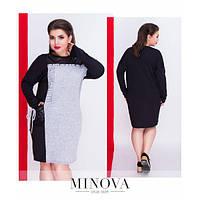 Платье женское большого размера в спортивном стиле декор надпись из страз MNV-8-36 серый