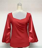 Блуза Eveline женская нарядная красная с рукавом 7/8 размер+