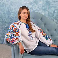 Льняная женская вышитая блуза Колорит Синий 40 b2a6eae43ed50