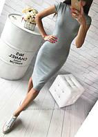 Серое платье базовое с коротким рукавом средней длины трикотажное Миди Батал