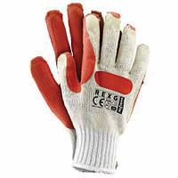"""Трикотажные защитные перчатки с резиновым покрытием, износостойкие """"Стекольщик REXG"""""""