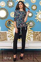Креповый костюм из цветной кофточки и брюки Синий, Размер 46 (L)