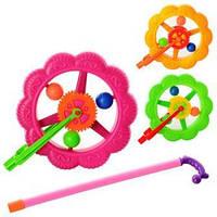 Каталка на палке, колесо 18,5см, трещотка, 3 цвета, в кульке