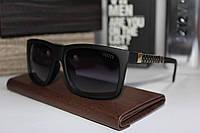 Солнцезащитные мужские очки Гуччи Gucci полароид чёрно-золотые (реплика)