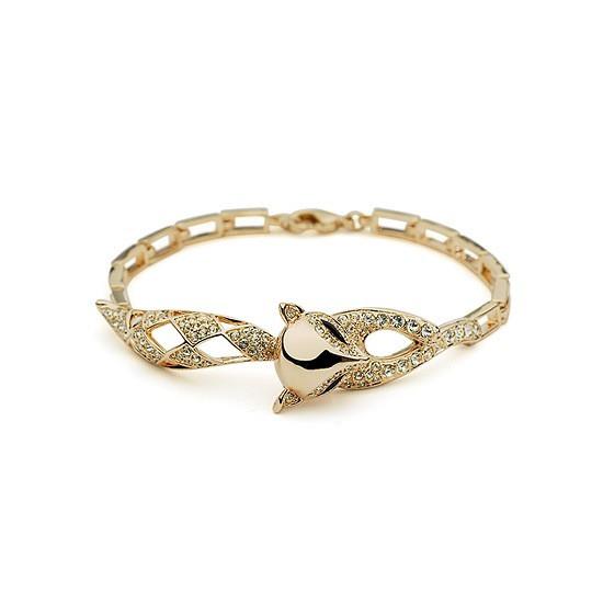 """Витончений браслет для дівчини у вигляді лисички """"Хитрий лис"""" позолота"""