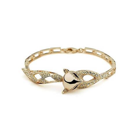 """Витончений браслет для дівчини у вигляді лисички """"Хитрий лис"""" позолота, фото 2"""