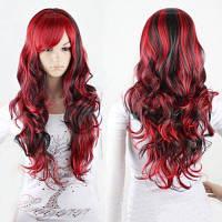 Очаровательная Длинные Черный Смешанная Красный Shaggy завитые сторону взрыва Синтетический косплей парик для женщин Красный с чёрным