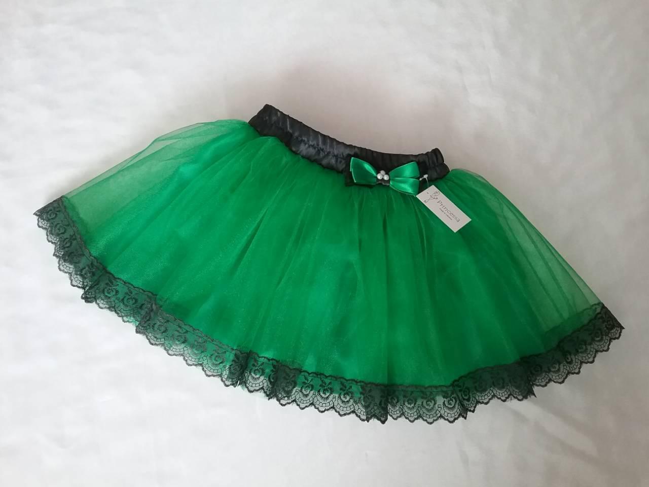 Юбочка детская зеленая фатиновая на резинке, с подкладом и кружевом. Пошив в любом цвете
