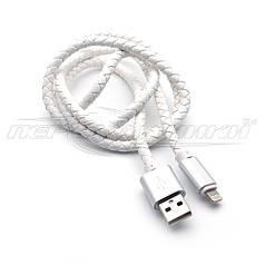 Премиум кабель USB to Lightning, кожаное плетение, 1м