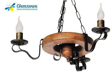 Люстра из дерева Колесо Кольцо на 3 лампы, фото 2