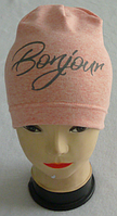 """Весняна шапка буратіно для дівчаток """"Bonjour"""", одинарна , р 3-8 років, фото 1"""