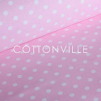 ✁ Отрезы бязи Горошки 12 мм на розовом, фото 1