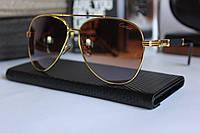 Солнцезащитные мужские очки Картьер Cartier коричнево-золотые (реплика), фото 1