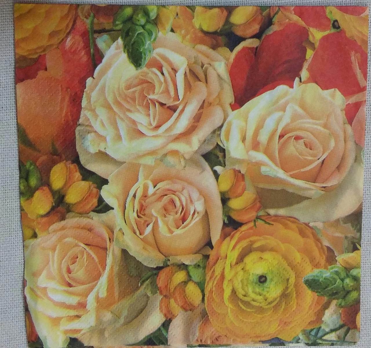 """Салфетка для декупажа """"Розы"""", 33х33 см, 5"""