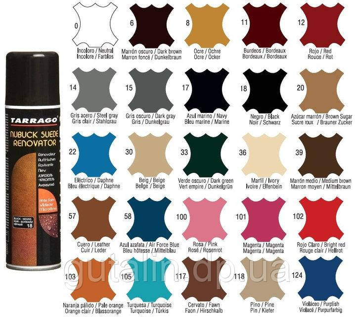 Восстанавливающая спрей-краска Tarrago Nubuck Suede Renovator 250 мл цвет стальной (14)