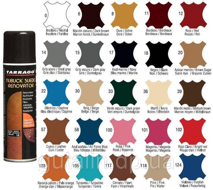 Восстанавливающая спрей-краска Tarrago Nubuck Suede Renovator 250 мл цвет темно серый (15)