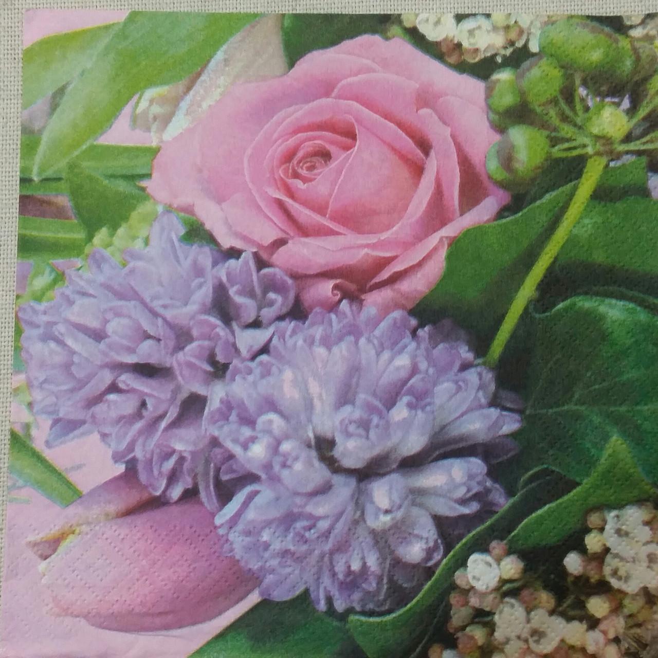 """Салфетка для декупажа """"Весенний букет"""" 33х33 см, 5"""