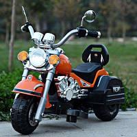 Безопасный мотоцикл 6V, 3 колеса, Макс. 3 км / ч,с электрическим музыкальным светом для детей, подарок дня рождения Оранжевый