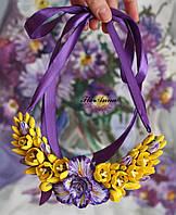 """Колье с цветами из полимерной глины """"Ирисы с жёлтыми тюльпанами"""", фото 1"""