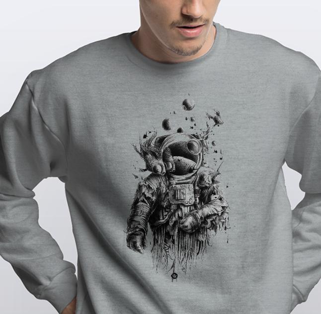 """Свитшот мужской серый с рисунком """"Космонавт"""""""