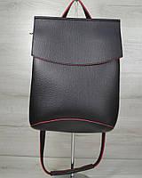 Молодежный сумка-рюкзак черного с красным цвета 44206