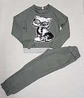 Модный прогулочный костюм для девочки р.116-134 серый