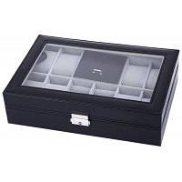 Шкатулка для часов и украшений на 8+3 ячейки Чёрный и серый
