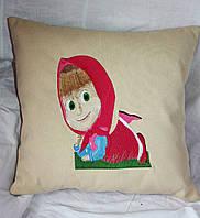 Детская подушка из льняной ткани с вышивкой  на кровать 8