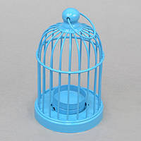 """Подсвечник декоративный для свечей """"Клетка"""" FA394, синий, металл, 15х8 см, подставка для свечи, подсвечник для декора, декор-подсвечник"""
