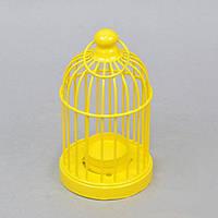 """Подсвечник декоративный для свечей """"Клетка"""" FA392, желтый, металл, 15х8 см, подставка для свечи, подсвечник для декора, декор-подсвечник"""