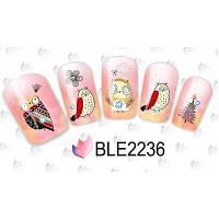 Водные наклейки / стикеры для дизайна ногтей с совой в 11 разных стилях #7