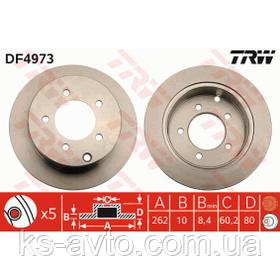 Диск передний тормозной Mitsubishi Lancer 10 (5 болтов)  DF4973 d80 TRW DF4973