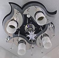 """Люстра потолочная """"Космос"""" с цветной LED подсветкой и автоматическим отключением с пультом (19х53х53 см.) Черный, хром YR-5521/4+1"""