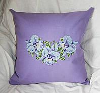 Подушка декоративная диванная  из льняной ткани с вышивкой  11