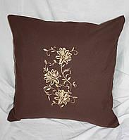 Подушка декоративная  из льняной ткани с вышивкой  на кресло 12