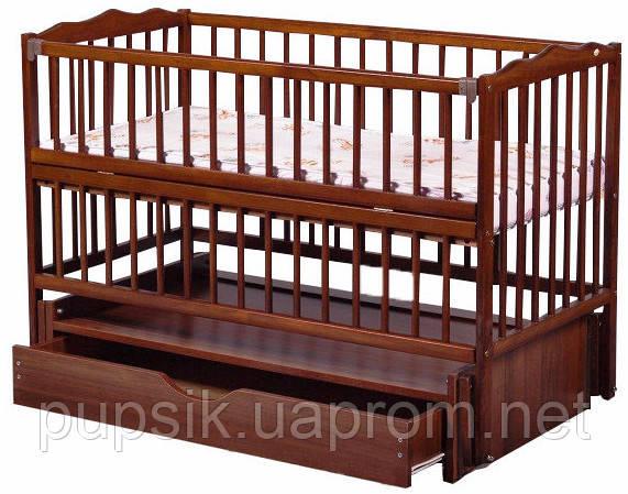 Кроватка детская Labona Мрия №4 Бук на маятнике с ящиком, откидная боковина, Орех