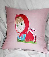 Детская декоративная подушка из льняной ткани с вышивкой розового цвета  на кресло 9