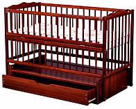Кроватка детская Labona Мрия №4 Бук на маятнике с ящиком, откидная боковина, Тик