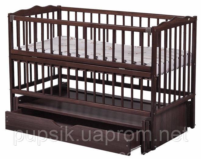 Кроватка детская Labona Мрия №4 Бук на маятнике с ящиком, откидная боковина, Венге
