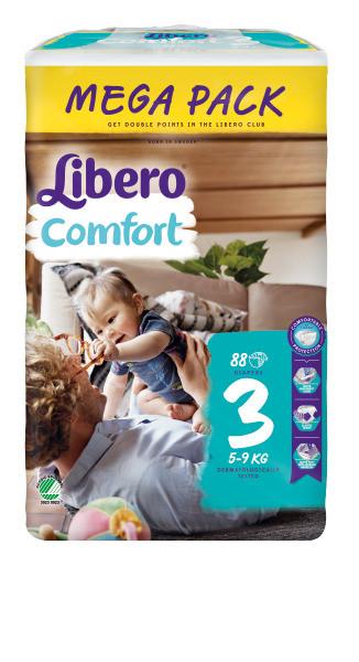 Подгузники Libero Comfort , размер 3 (5-9 кг), 88 шт.